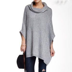 Love stitch gray textured cowl neck poncho sweater